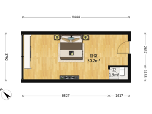 财富广场 1室0厅 48.76㎡ 精装_深圳福田区香蜜湖二手房图片