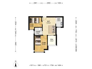 城市东座公寓 2室1厅 49.3㎡ 精装_城市东座公寓二手房户型图片5