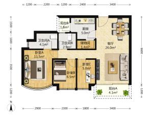 龙玺E区 3室2厅 117.25㎡ 精装深圳福田区沙尾二手房图片