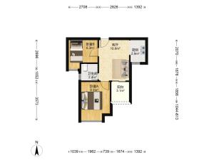 城市东座公寓 2室1厅 49.3㎡ 精装_城市东座公寓二手房户型图片6