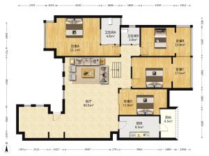 悦城花园一期 6室1厅 144.37㎡ 简装_悦城花园一期二手房户型图片3