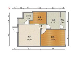 前海铂寓 2室1厅 55.86㎡ 精装深圳宝安区碧海二手房图片